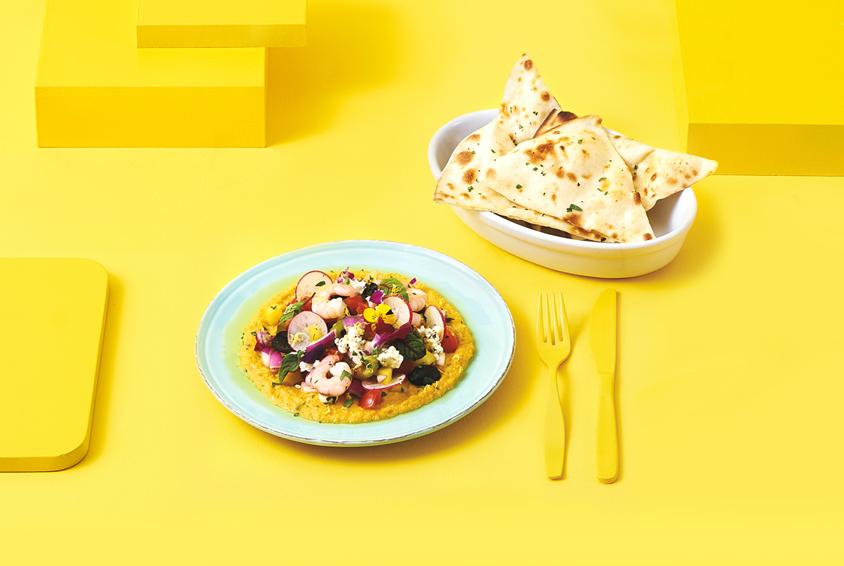 펌킨 후무스 & 슈림프 세비체 샐러드(Pumpkin Hummus & Shrimp Ceviche Salad)