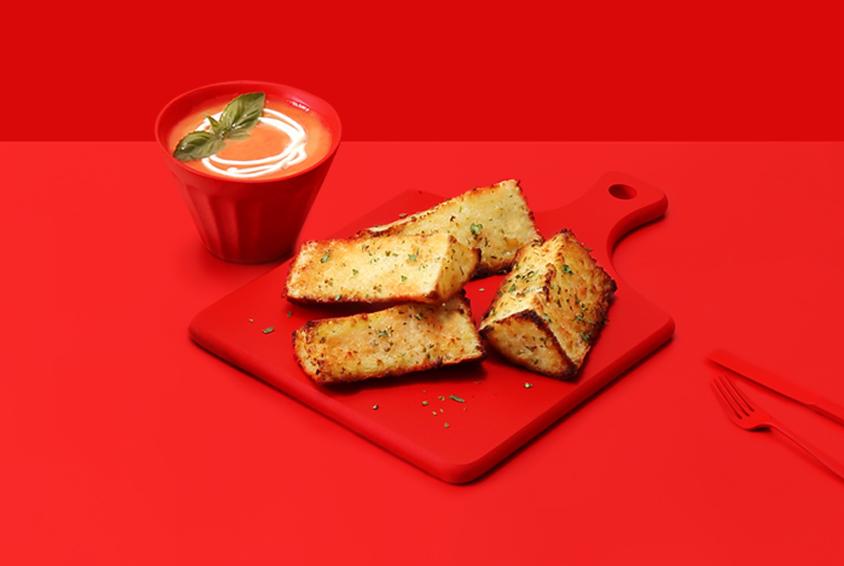Garlic Bread Stick with Tomato Gazpacho