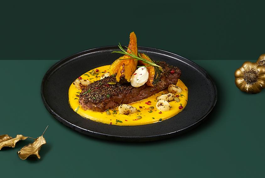 Striploin Steak with Goldish Pumpkin Puree